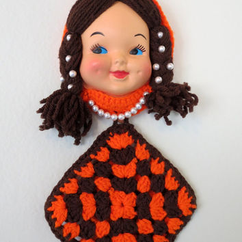 Vintage Doll Face Pot Holder- Hand Crocheted- Wall Decor- Detachable Hot Pad- Pearl Accents- Orange and Brown
