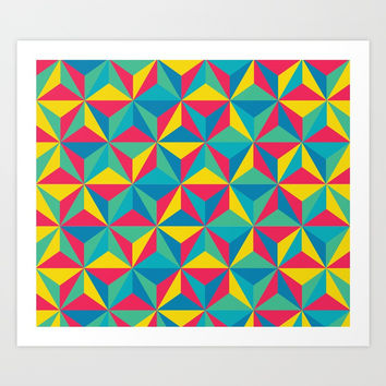 Psychedelic Triangles Art Print by Tristan