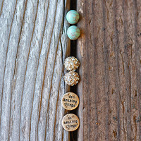 "Engraved ""Do Amazing Things"" Earring Set"