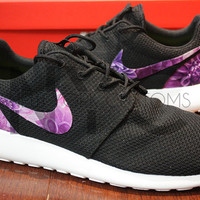 Nike Roshe Run Black White Dahlia Floral Print Custom Womens