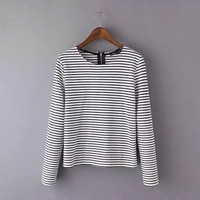 Stripe Long-Sleeve Zip-Back Shirt