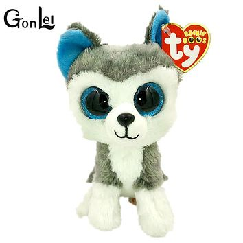 GonLeI 15cm 2015 Hot Sale Ty Beanie Boos Big Eyes Husky Dog Plush Toy Doll Stuffed Animal Cute Plush Toy Kids Toy