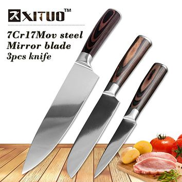 XITUO 3Pcs Stainless Steel Kitchen Knives Set Color wood handle Bread Chef Knife Slicing Utility Paring Knife Multi Cooking Tool