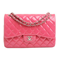 Chanel Fuchsia Pink Quilted Patent Jumbo Classic 2.55 Double Flap Bag