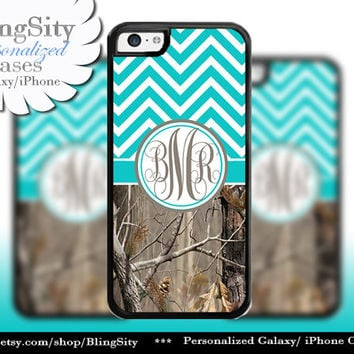 Aqua Chevron Monogram iPhone 5C 6 6 Plus Case iPhone 5s 4 Ipod 4 5 Touch case Real Tree Camo Aqua Teal Zig Zag Personalized Country Girl