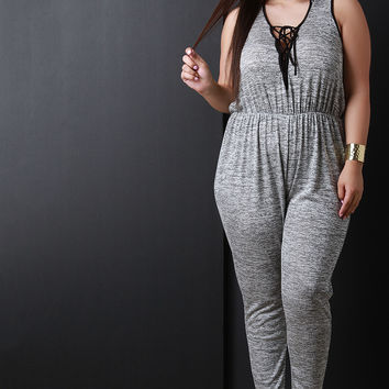 Marled Knit Crisscross Lace-up Hoodie Jumpsuit