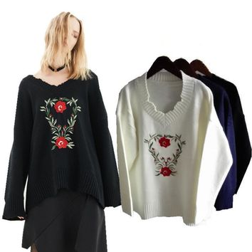 Pullover Knit Tops Winter Floral Embroidery Ripped Holes Sweater [11055905095]