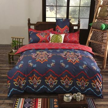 2017 New Bohemian Style Bedding set Floral Printed Bed Cotton Twin Queen King Size 4pcs Duvet Cover Flat Sheet Pillow case