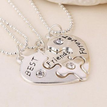 Lovers 3 pcs Best Friends Forever Crystal Rhinestone Couple Pendant Necklace Friendship Heart Charm Gift for Girl and Women
