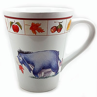 Eeyore Winnie The Pooh Coffee Mug Disney 12oz Cup Autumn Fall Harvest Fruit k522