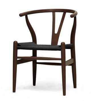 Baxton Studio Mid-Century Modern Wishbone Chair - Brown Wood Y Chair with Black Seat Set of 2