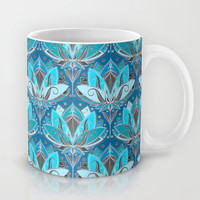 Art Deco Lotus Rising - black, teal & turquoise pattern Mug by Micklyn