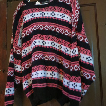 Vintage 1980s GITANO  made ITALY  geometric print sweater  pink and black 80s oversize slouchy grunge