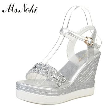 Ms.Noki high heels sandals women shinning glitter silver gold platform wedges 2017 summer ladies open toe casual shoes pumps