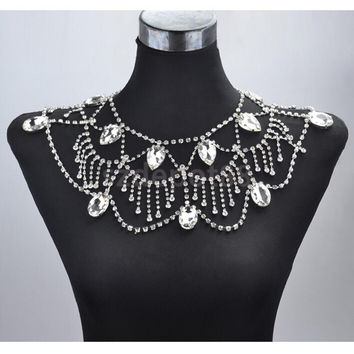 acrylic crystal body chain shoulder necklace bridal prom pageant