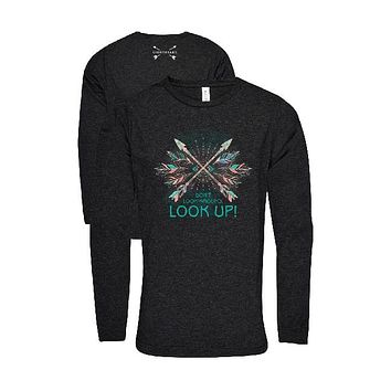 Southern Couture Lightheart Look Up Arrows Triblend Front Print Long Sleeve T-Shirt
