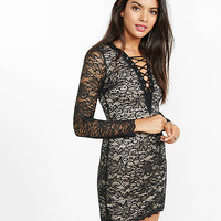 Black Lace-up Long Sleeve Lace Dress from EXPRESS