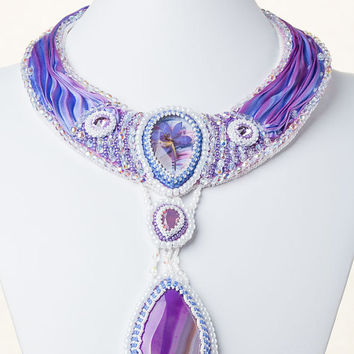 Real flower and shibori silk necklace Bridal necklace embroidered Lilac Crystal