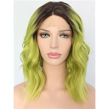 Short Olive Lime Yellow Green Ombre Wave Synthetic Lace Front Wig