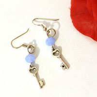 Key Charm Earrings with Light Blue Frosted Crystal Beads, Womens Fashion Earrings, Heart Key Charms, Womens Teens Trendy Key Jewelry