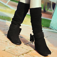 Mid-Calf Boots With Bow and Suede Design
