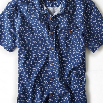 AEO Men's Patterned Short Sleeve Button Down Shirt (Blue)