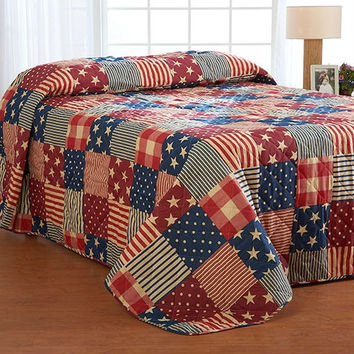 King size Bedspread in Red White Blue USA American Flag Patchwork Stars Stripes Pattern