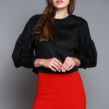 Women's Back Zipper Puff Sleeve Crop Top