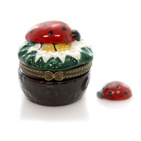Hinged Trinket Box Ladybug On Flower Treasure Box