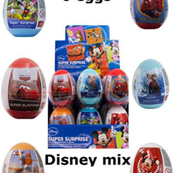 6 New Mix variety of eggs-Disney frozen, Mickey Mouse, Minnie Mouse, planes, cars and Spiderman toy surprise eggs
