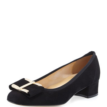 Ramie Block-Heel Bow Pump, Black