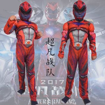 Cool power rangers 2018  Children Cosplay Clothing Halloween costumes For Kids Boys sets maskAT_93_12