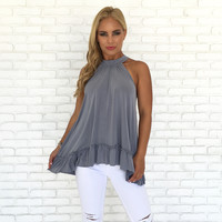 Soft Ruffle Top in Dusty Blue
