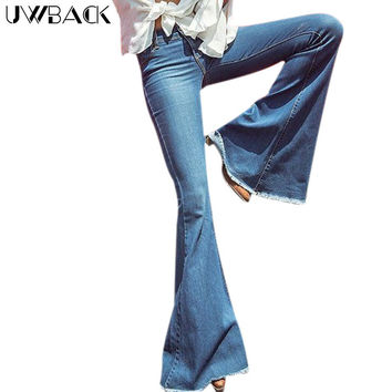 Uwback Flare Jeans Women New Brand Skinny Flared Jeans Female Washed Dark Blue Bell Botton Retro Slim Jeans Mujer Tb1270