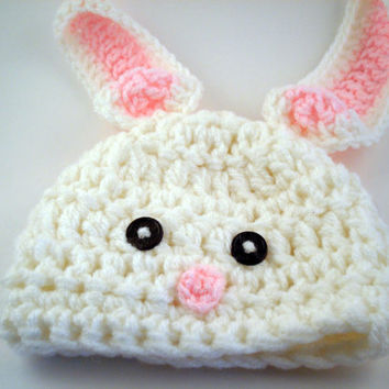 Baby Newborn to Toddler Bunny Rabbit Crochet Hat with Floppy Ears