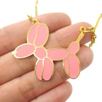 Balloon Dog Shaped Animal Pendant Necklace in Pink | Limited Edition