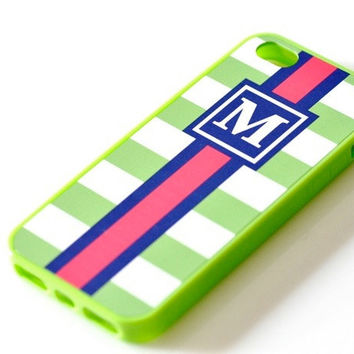 Nautical Monogram iPhone Case - Lime Green Stripes
