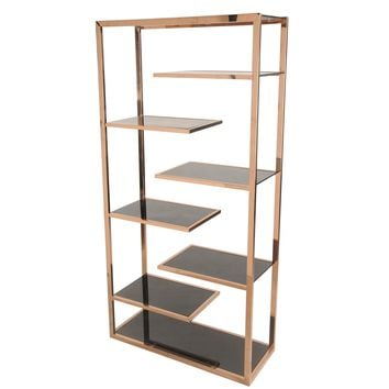 Saticoy Bookcase BLACK GLASS/ROSE GOLD