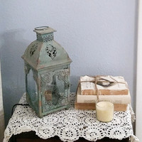 Country blue green shabby chic lamp lantern rustic lighting home decor cottage decor reading night light nightstand bedroom Edison bulb