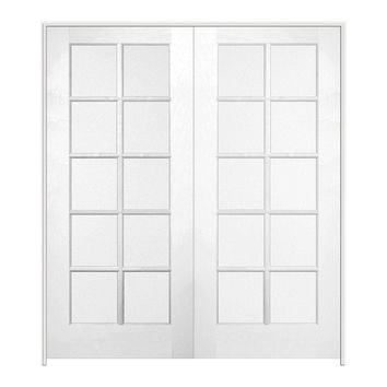 JELD-WEN 48 in. x 80 in. Pine Unfinished 10 Lite Wood Prehung Interior French Door-E88180 - The Home Depot