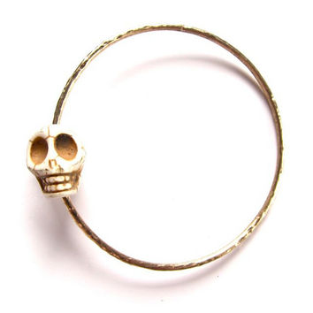 Gold Skull Bangle,Thick Hammered Bracelet, Halloween Jewelry, Costume Party, Pirate Accessory, Day of the Dead, Sugar Skulls, Gothic