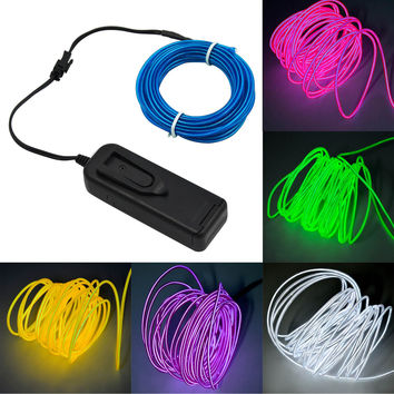 5m Neon Glowing Strobing Electroluminescent Light El Wire Fairy Lights Battery Powered Light Decoration for Outdoor Garden