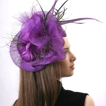 Ascot FREE delivery Purple Royal Ascot Fascinator, Kentucky derby Hat, Wedding head piece black and gold feathers, perfect for parties