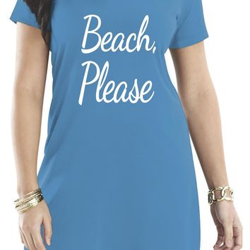 Beach Cover Up Dress, Beach Please Women's Short Sleeve Cover Up
