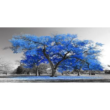 Wall Art Painting Contemporary Blue Tree In Black And White Style Fall Landscape Picture Modern Giclee Stretched And Framed Artw