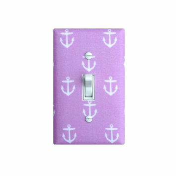 Lilac Anchor Light Switch Plate Cover / Baby Girl Nautical Nursery Decor / Girls Room Bathroom / Lavender Purple / Slightly Smitten Kitten