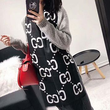GUCCI Women Autumn And Winter New Fashion More Letter Keep Warm Scarf Black