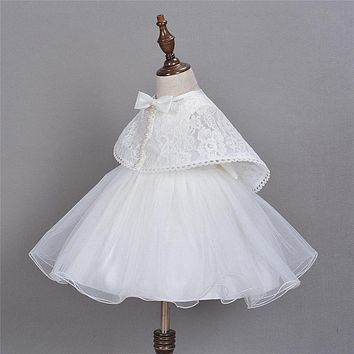 Baby Princess Dress + Pearl Lace Shawl Infant Toddler White Baptism Dresses Infant Christening Gown Toddler Dress Girls Clothes