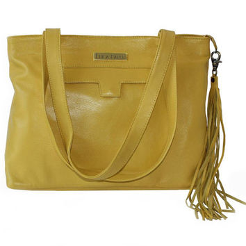 Yellow Leather Tote, Medium Size Purse, Soft Leather Tote, Bags and Totes, Work Bag, Laptop Tote, Long Leather Tassel