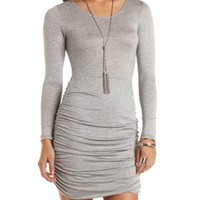 Ruched Long Sleeve Dress by Charlotte Russe - Med. Gray Heather